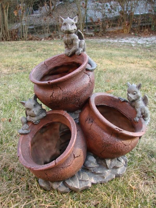 Gartendrache Mit Blumentopf 3fach Drache Figur Gargoyle