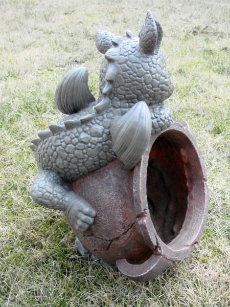 Gartendrache Mit Blumentopf A Drache Figur Gargoyle Ebay