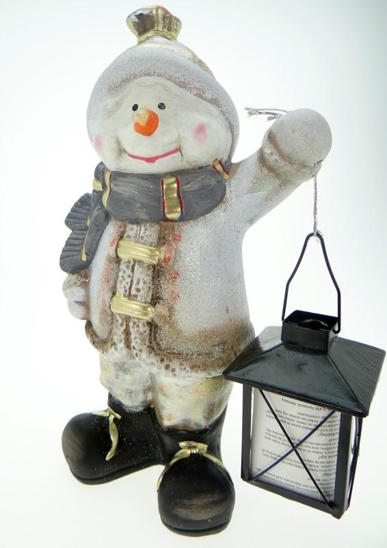 schneemann mit laterne weiss figur a weihnachten f r drinnen und draussen ebay. Black Bedroom Furniture Sets. Home Design Ideas