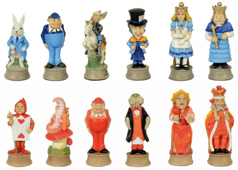 hochwertiges schachfiguren set alice im wunderland von the chessmen schach ebay. Black Bedroom Furniture Sets. Home Design Ideas