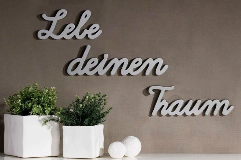 3tlg set schriftzug lebe deinen traum silber holz deko ebay. Black Bedroom Furniture Sets. Home Design Ideas