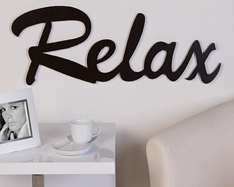 Schriftzug relax holz braun deko wandtattoo ebay - Wandtattoo relax ...