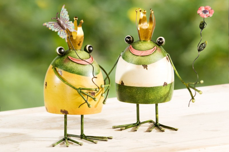 2er set fr hliche fr sche aus metall figur frosch garten for Frosch figur garten