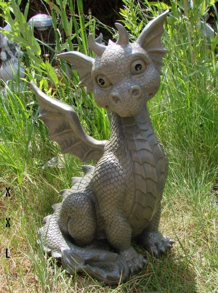 xxl gartendrache sitzend drache figur garten 41cm gargoyle drachenkind ebay. Black Bedroom Furniture Sets. Home Design Ideas