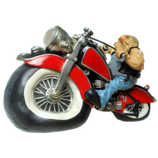 lustige spardose biker motorradfahrer figur sparschwein ebay. Black Bedroom Furniture Sets. Home Design Ideas
