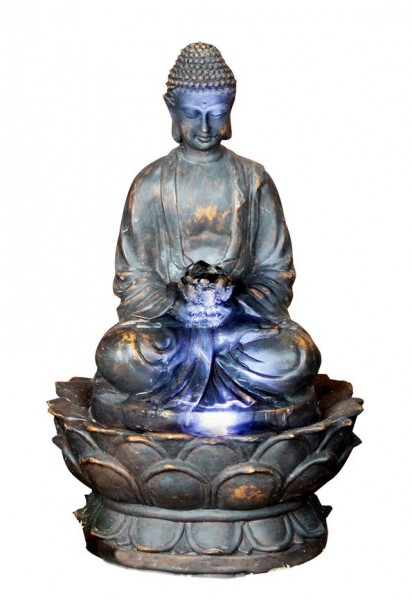 toller buddha zimmerbrunnen led lampe bronzefinish. Black Bedroom Furniture Sets. Home Design Ideas