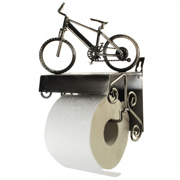 toilettenpapierhalter fahrrad aus metall zum aufh ngen wc halter ebay. Black Bedroom Furniture Sets. Home Design Ideas