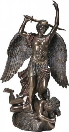 erzengel michael mit schwert bronziert skulptur figur. Black Bedroom Furniture Sets. Home Design Ideas