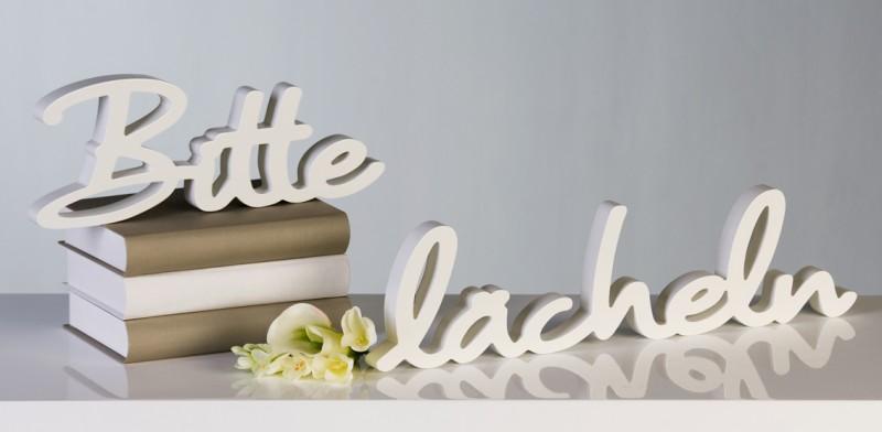 2tlg set schriftzug bitte l cheln holz weiss deko. Black Bedroom Furniture Sets. Home Design Ideas