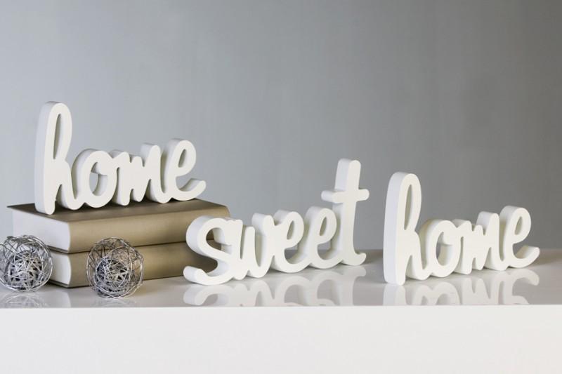schriftzug home sweet home weiss deko wandtattoo 3teilig innendekoration wohnaccesoires diverse. Black Bedroom Furniture Sets. Home Design Ideas